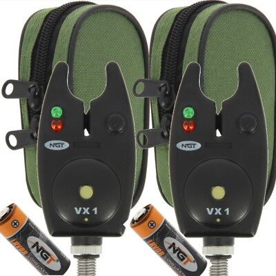 2 X Bite Alarms NGT VX1 For Carp Fishing Waterproof Black Alarms With Batteries • 13.74£