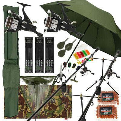 Deluxe Complete Carp Fishing Set With 2 X Rods Reels Pod Alarms 42  Net Tackle  • 177.49£