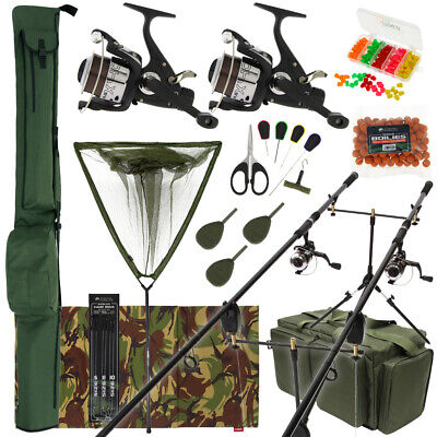 Complete Carp Fishing 2 Rod Set Up Reels With Carryall Holdall Pod Alarm Tackle • 191.16£