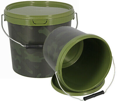 NGT 5.5L Round Camo Bait Fishing Tackle Bucket With Metal Handle 1 2 3 4 Sets • 15.95£