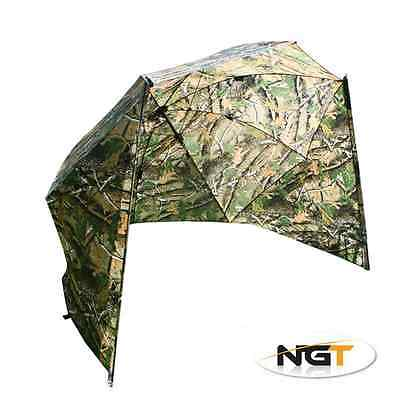 50  Camo Storm Brolly With Sides Umbrella Tent With Case NGT Carp Fishing Tackle • 44.58£