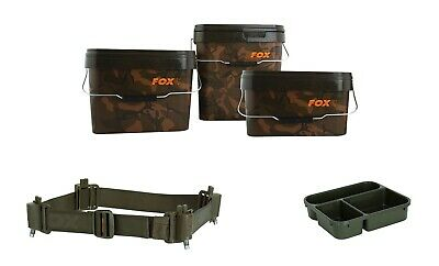 Fox Heavy Duty Camo Square Stackable Bait Bucket Robust Carp Fishing 5l 10l 17l • 10.99£
