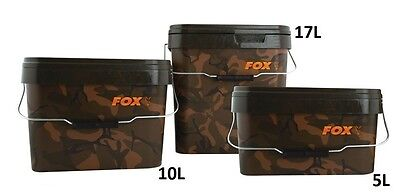 New Fox Camo Heavy Duty Square Bucket - 5L 10L 17L Or Tray - Carp Fishing Setup • 10.98£