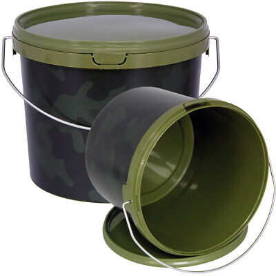 Airtight Round Camo 3L Litre NGT Fishing Bait Tackle Buckets With Metal Handle • 8.96£