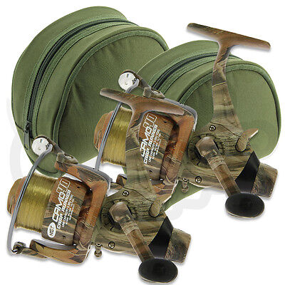 2 X NGT Camo40 Carp Runner 3BB Fishing Reel With 12lb Line + Spare Spool + Cases • 40.91£