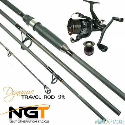 Carp Fishing Travel Rod And Reel 9ft 2.7M 4pc Piece Carbon NGT Dynamic • 41.13£