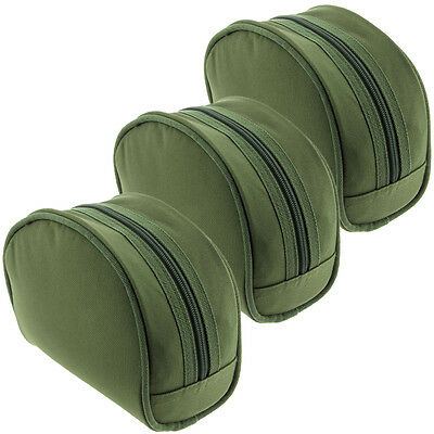 3 X NGT Green Carp Coarse Padded PVC Backed Green Fishing Tackle Reel Cases Set • 14.95£