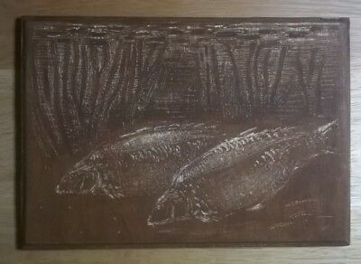 Carp Artwork Of Last Of The Leneys Wooden Etching Measuring 7 In X 5in • 40£