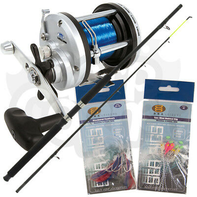 NGT Boat Max 6ft 2pc 25lb Fishing Rod + Lineaeffe JD3/500 Sea Reel & Feathers • 43.35£