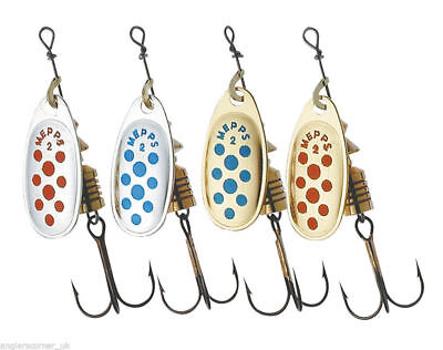 Mepps Comet Spinners - Silver/Gold, Red/Blue Dot Colours - All Sizes 00 To 5 • 4.48£