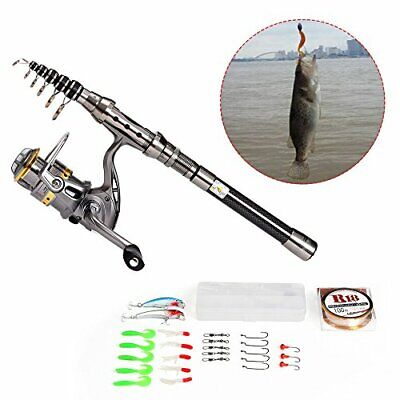 Lixada Telescopic Fishing Rod And Reel Combo Full Kit Spinning Fishing Reel  • 42.56£