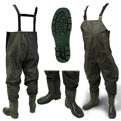 Waterproof Green PVC Flood Coarse Fly Fishing Chest Waders Sizes 7 8 9 10 11 12 • 23.95£