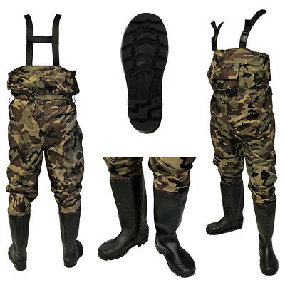 100% Waterproof Nylon Camo Carp Coarse Fly Fishing Chest Waders PVC Boots Sizes • 34.95£