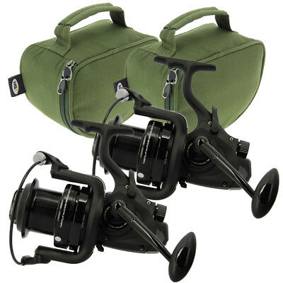 2x NGT Dynamic 7000 10BB Large Big Pit Carp Coarse Fishing Reels & Padded Cases • 66.45£
