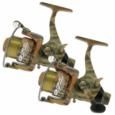 2 X NGT Camo 40 Carp Runner Reels With 12lb Line Spare Spools Fishing Reels NGT • 24.49£