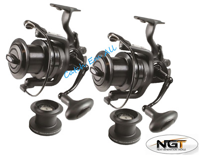 2 X Dynamic 9000 Big Pit Large Carp Fishing Reels Bait Runner & Spare Spool NGT • 78.49£