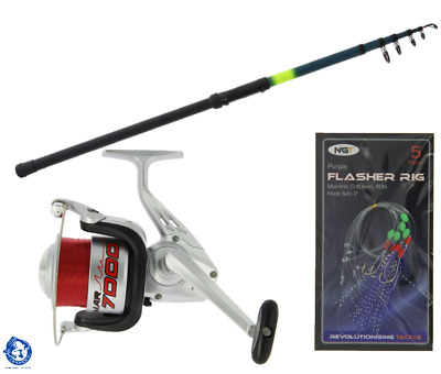 Telescopic Beachcaster Fishing Rod 12ft & Sea Beach Reel & Feathers Sea Fishing • 28.99£
