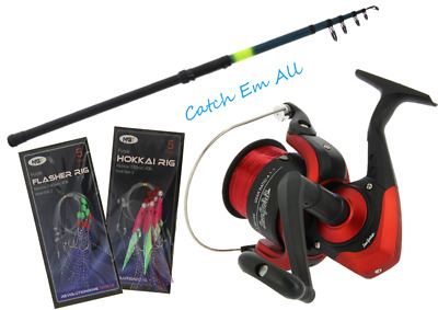 12ft Telescopic Beachcaster Sea Fishing Rod & Size 70 Sea Reel & Feathers & Line • 24.99£