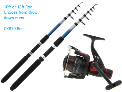 Telescopic Rod And Reel Combo Kit 10ft And 12ft CKR50 Reel With 8lb Line • 18.99£