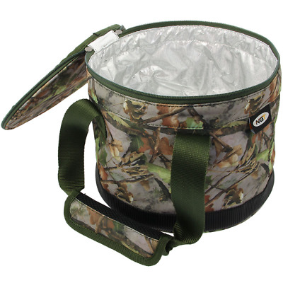 2 X Bait Bin Buckets Handles & Zip Top Camo For Boilies Pellets Carp Fishing • 19.99£