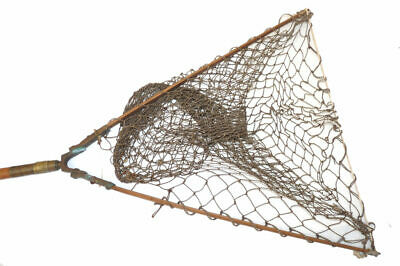 Antique Cane Folding Landing Net With Brass Fittings And Wood Arms With Knott... • 89£