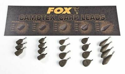 NEW Fox  Camotex Carp Fishing Coated Leads Inline & Swivel X5 All Types & Sizes • 6.79£