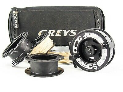 GREYS GRXi #5/6 FLY FISHING REEL + SPOOLS + POUCH • 84.99£