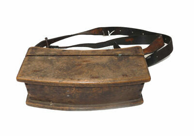 Early Wooden Waist Fitting Live Bait Or Mayfly Box With Leather Belt, Great D... • 149£
