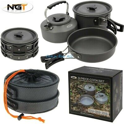 NGT 3 Piece Cook Set Carp Fishing Cooking Set Kettle Frying Pan Pot With Lid 3pc • 29.99£
