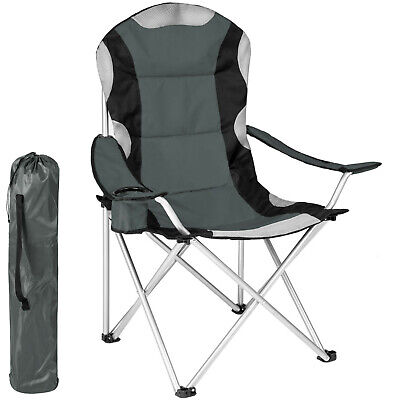 Heavy Duty Padded Folding Camping Directors Chair With Cup Holder Portable Grey • 56.24£