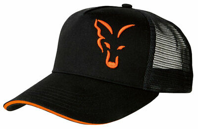 New Fox Black & Orange Trucker Cap - CPR924 - One Size - Carp Fishing Hats • 13.98£