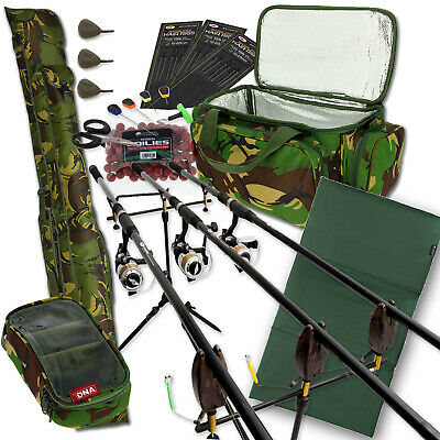 Carp Fishing 3 Rod & Reel Set Up With Camo Carryall + Rod Holdall Tackle & Bait • 184.33£
