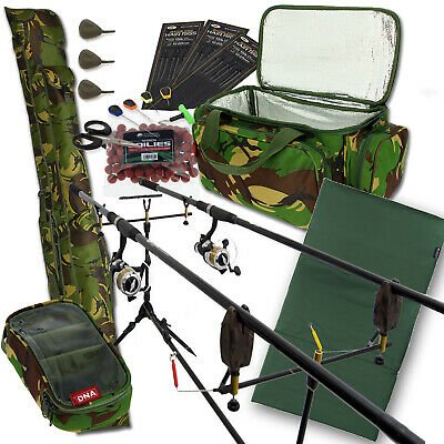 Carp Fishing 2 Rod & Reel Set Up With Camo Carryall + Rod Holdall Tackle & Bait • 163.84£