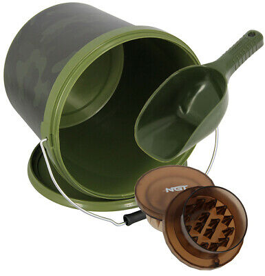 Carp Fishing Bait Boilie Crusher Grinder Chopper 5L Bucket & Baiting Spoon Set • 15.49£