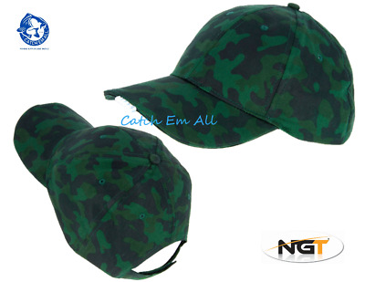 NGT Camo Baseball Cap With LED Lights Ideal For Carp Fishing Hunting Or Shooting • 5.49£