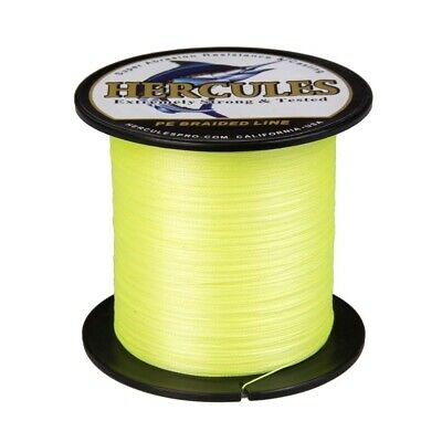 4 Strands Fluorescent Yellow 300M 1000M PE Braided Fishing Line Hercules Extreme • 20.79£