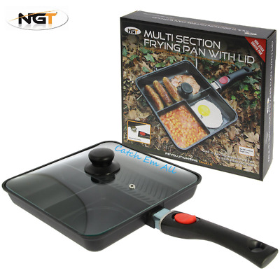 NGT Fishing 3 Way Multi Section Frying Pan With Removeable Handle And Lid • 19.49£