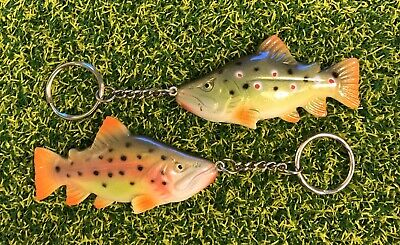 FiSH I Trout Keyrings. Bown & Raninbow Trout. Fly Fishing Keyrings. Anglers Gift • 11.95£