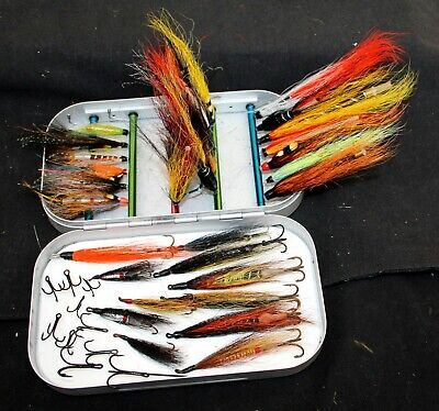 6  X 3.5  Snowbee Tube Fly Fishing Box With 37 Modern Tube Flies On Tapered Pins • 74.99£
