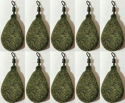 10x Fishing Flat  Pear Leads 1.5/2/2.5 /3 /3.5 /4/4.5oz TEXTURED SILTY Green  • 8.99£