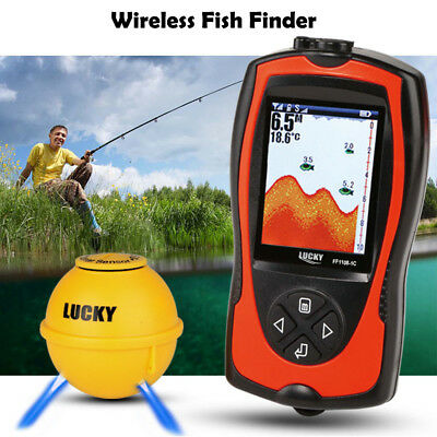 Lucky Fish Finder Wireless Sonar Fishing LCD Transducer Luminous Probe FishAlarm • 48.99£