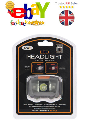 NGT LED Headlight With White And Red Light (100 Lumens) Fishing Hiking • 7.50£