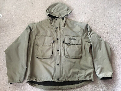 VISION Mens Fly Fishing Wading Hooded Jacket Green Size Large L Ex Condition • 49.99£