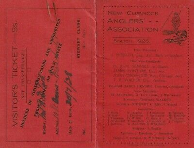 1928 Fishing Licence For  New Cumnock Anglers' Association . Ayrshire, Scotland. • 12.50£