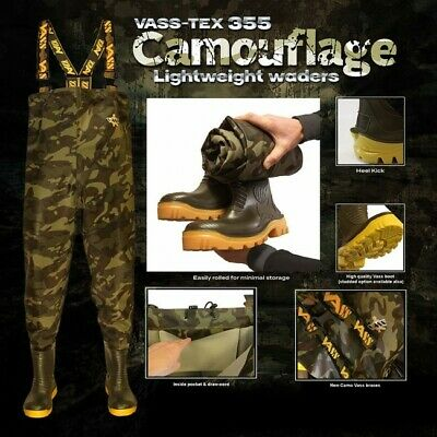 New Vass - Tex 355 Lightweight Camouflage Chest Wader VA355-70E - Carp Fishing  • 99.98£