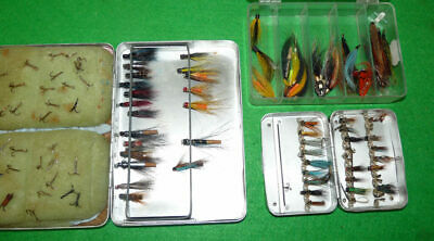 2 Unusual Wheatley Alloy Vintage Tube Fly Boxes Large & Small With Flies • 89£