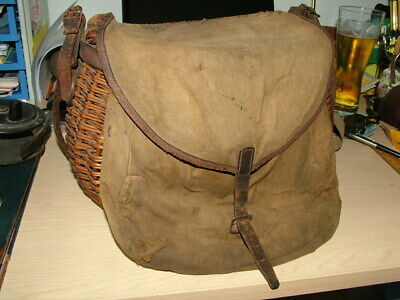 Early Wicker Fly Fisherman's Creel With Canvas And Leather Bag And Harness. • 24.99£