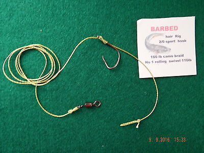10 X 2/0 Full Circle 100lb Catfish Hair Rigs • 6.50£