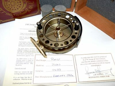 J W Young Purist Aerial 2030 Centre Pin Reel With Certificate, Papers And Woo... • 269£