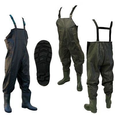 New Waterproof PVC Chest Waders Flood Work Fly Coarse Fishing Sizes 7 8 9 10 11 • 22.95£
